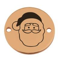 """Coin Armbandverbinder Weihnachten """"Weihnachtsmann"""", 15 mm, vergoldet, Motiv lasergraviert"""