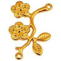 Armbandverbinder Ast mit Blumen, 19 x 25 mm, vergoldet