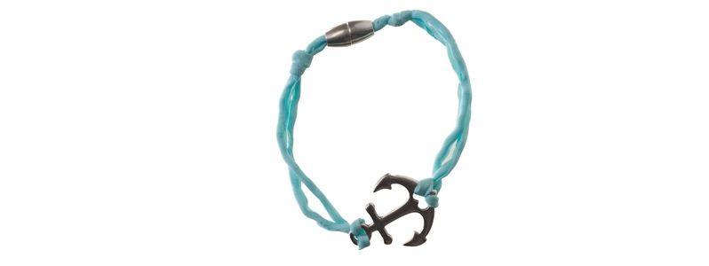 Seiden-Armband Türkis Anker