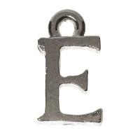 Metallanhänger Buchstabe E, 7 x 12 mm, silberfarben