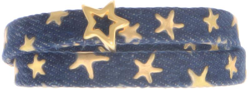 Breites Armband für Slider aus Jeansband Goldener Stern