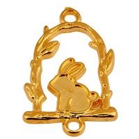 Armbandverbinder Hase auf Schaukel, 15 x 18 mm, vergoldet