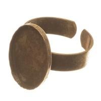 Ringschiene mit Fassungen für Cabochons, oval 13 x 18 mm, verstellbar, bronzefarben