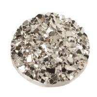 Cabochon aus Kunstharz, Druzy-Effekt , rund, Durchmesser 12 mm, crystal