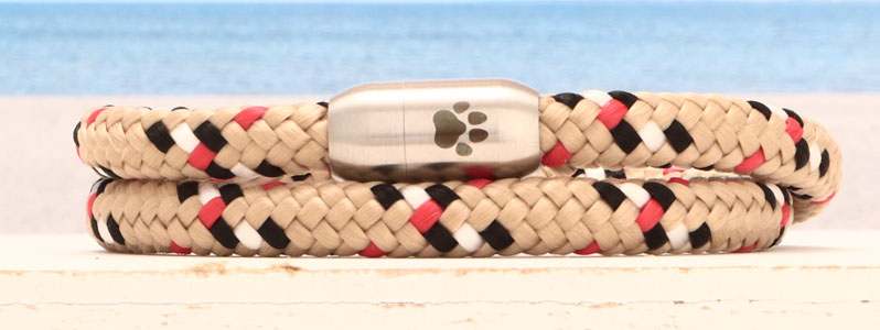 Segeltauarmband Magnetverschluss aus Edelstahl Pfote doppelt