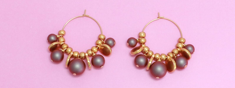 Ohrringe mit Crystal Pearls in iridescent red