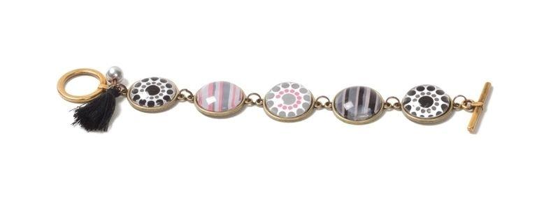 Boho-Armband mit Glascabochons Schwarz