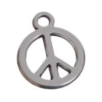 Metallanhänger, Peace. 15 x 12 mm, versilbert