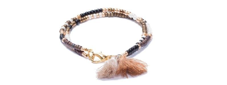 Armband mit Rocailles Gold-Braun