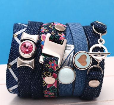 Breite Armbänder und Schlüsselanhänger aus Jeansband