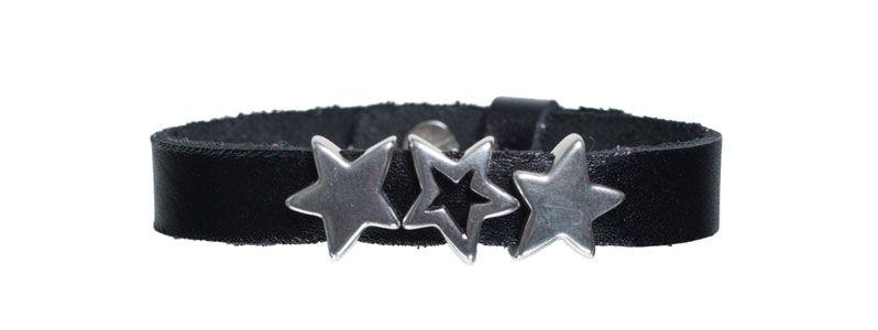 Leder-Armband mit Sliderperlen einfach Sterne