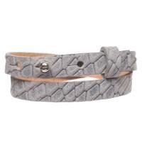 Animalprint Echse Lederarmband für Sliderperlen, Breite 10 mm, Länge 39 - 40 cm, grau