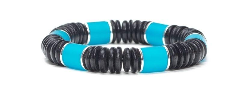 Armband mit Kokosnussperlen Türkis-Schwarz