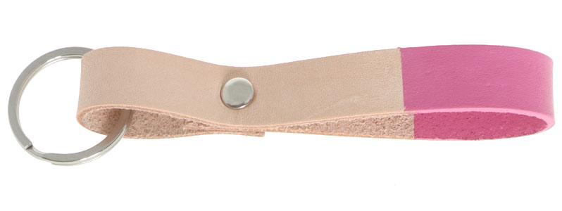 Leder-DIY Schlüsselanhänger Pink