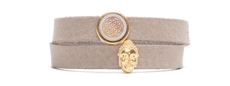 Craft Lederarmband für Slider Perlen Buddha Taupe