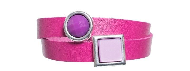 Leder-Armband mit Sliderperlen doppelt Magenta