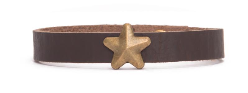 Lederarmband mit Slider Stern bronzefarben