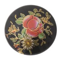 Cabochon bedruckt, Blumenmuster, rund, Durchmesser 25 mm, schwarz