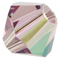 Preciosa Rondelle Bead/Bicone, 4 mm, light amethyst AB