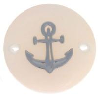 Perlmutt Armbandverbinder, rund, Motiv Anker silberfarben, Durchmesser 16 mm