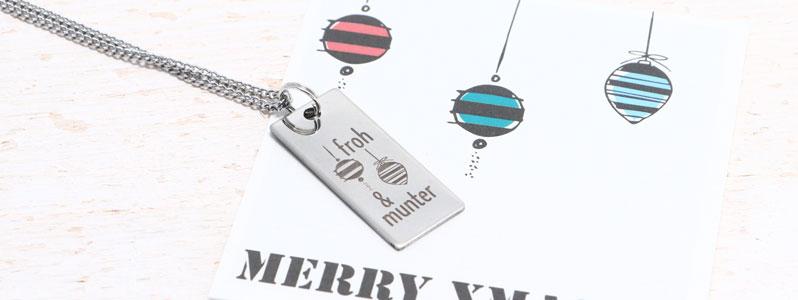 """Weihnachtskette mit Edelstahlanhänger """"Froh und Munter"""""""
