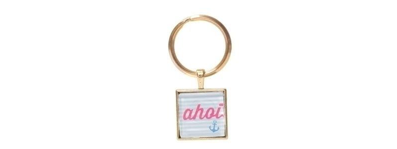 Schlüsselanhänger mit viereckigem Glascabochon Ahoi Goldfarb