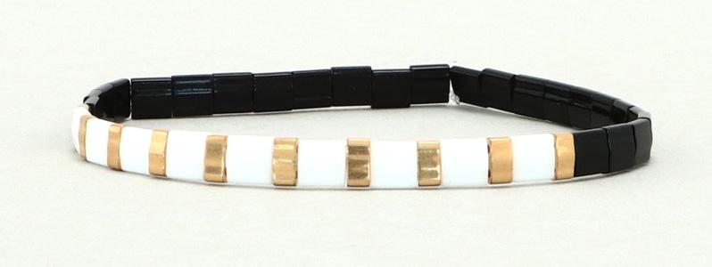 Elastisches Armband mit Tila und Halftila-Perlen Schwarz-Weiß-Gold
