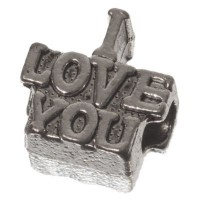 Metallperle für Segelseil Love, 14 x 14 mm, silberfarben