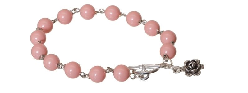 Armband mit Crystal Pearls Pink Coral