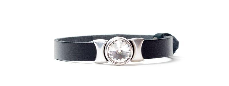 Armband aus Lederband mit Slidern Schwarz