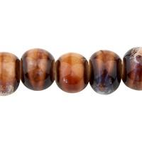 Porzellanperle antik glasiert, Kugel, braun,  6,5 x 5,5 mm