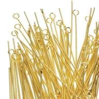 100 Ösenstifte, Länge 45 mm, goldfarben