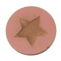 Holzcabochon, rund, Durchmesser 20 mm, Motiv Stern, rosa