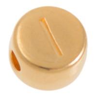 Metallperle, I Buchstabe, rund, Durchmesser 7 mm, vergoldet