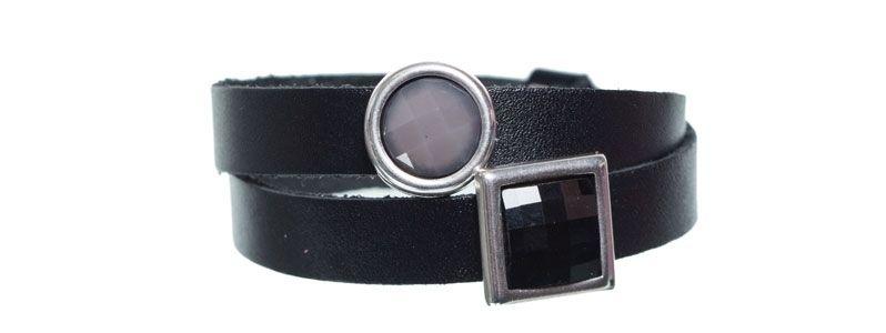 Leder-Armband mit Sliderperlen doppelt Schwarz