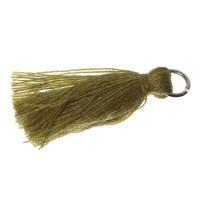 Quaste/Troddel, 25 - 30 mm, Baumwollgarn mit Öse (silberfarben), olivgrün