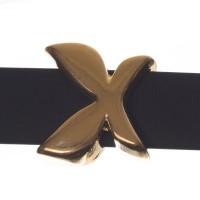 Metallperle Slider / Schiebeperle Schmetterling, vergoldet, 16 x 14  mm