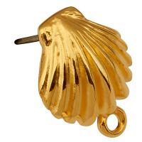 Ohrstecker Muschel mit Öse, 14,5 x 12 mm, mit Titanstift, vergoldet