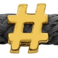 Grip-It Slider Satzzeichen #, für Bänder bis 5mm Durchmesser, vergoldet