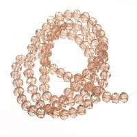 Strang Glasfacett  Rondell, 4 x 6 mm, rosa AB, Länge des Strangs ca. 40 cm