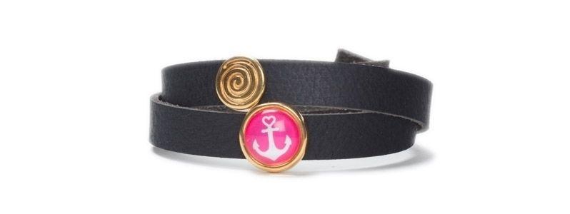 Armband mit Schiebeperlen Anker Pink