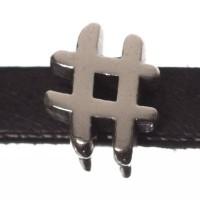 Metallperle Mini-Slider Hashtag, versilbert, ca. 7 x 10 mm, Durchmesser Fädelöffnung:  5,2 x 2,0 m