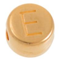 Metallperle, E Buchstabe, rund, Durchmesser 7 mm, vergoldet