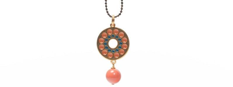 Anhänger mit Boho Emaille und Crystal Pearls Coral