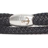 Magnetverschluss Anker für Bänder bis 5 mm, olive, 17 x 9 mm, versilbert