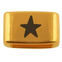 """Zwischenstück mit Gravur """"Stern"""", 14 x 8,5 mm, vergoldet, geeignet für 5 mm Segelseil"""