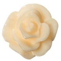 Kunststoffcabochon Rose, 7 x 3 mm, weiß