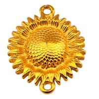 Armbandverbinder Sonnenblume mit 2 Ösen, vergoldet