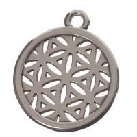 Metallanhänger Blume des Lebens, Durchmesser 20 mm, versilbert