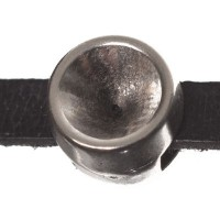Fassung Slider / Schiebeperle für Swarovski Chatons SS39, versilbert für Bänder mit 5 mm Breite